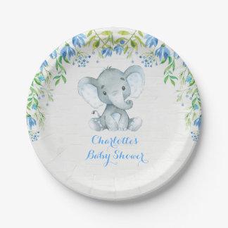 Assiettes En Papier Plat bleu de partie d'éléphant de douche florale