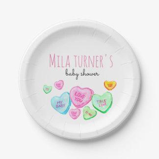 Assiettes En Papier Plat de baby shower de coeur de sucrerie de jour