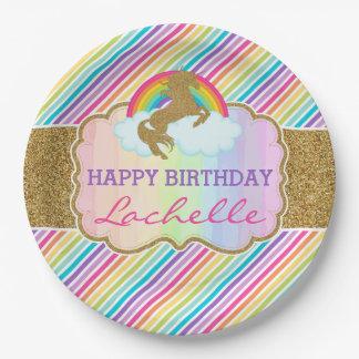 Assiettes En Papier Plat de joyeux anniversaire de licorne