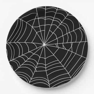Assiettes En Papier Plat de partie de Halloween de toile d'araignée,