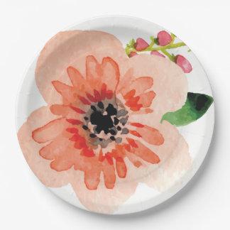 Assiettes En Papier Plat en pastel de la fleur | de belle aquarelle