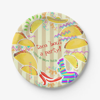 Assiettes En Papier Plat personnalisable de partie de taco -