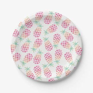 Assiettes En Papier Plat pour aquarelle de partie d'ananas rose