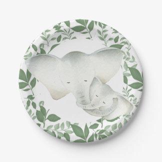 Assiettes En Papier Plat unisexe de partie d'éléphant de maman et de