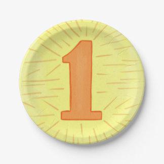 Assiettes En Papier Plats d'anniversaire de jaune orange du numéro un