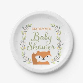 Assiettes En Papier Plats de baby shower de Fox de région boisée