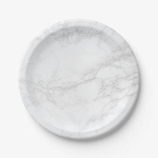Assiettes En Papier Plats de marbre blancs et gris d'exposé