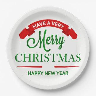 Assiettes En Papier Plats de partie de Joyeux Noël et de bonne année