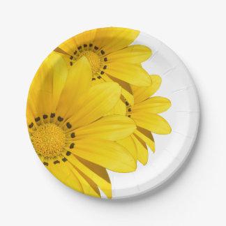 Assiettes En Papier Plats jaunes de partie de papier de bouquet de