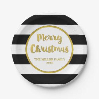 Assiettes En Papier Plats noirs de coutume de Joyeux Noël de rayures