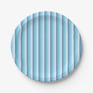 Assiettes En Papier Plats rayés bleus