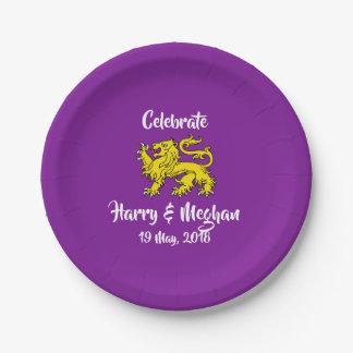 Assiettes En Papier Plats royaux de Harry et de noce de Meghan