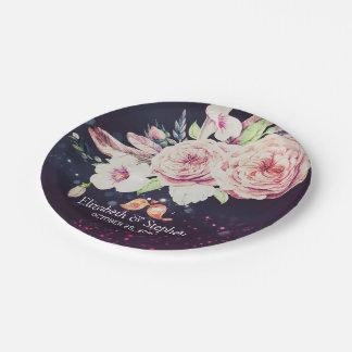 Assiettes En Papier Plume florale de Boho de wedding shower et