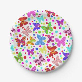 Assiettes En Papier Point de polka coloré et mignon de papillon