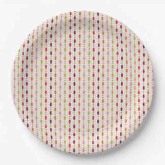 Assiettes En Papier Points ovales de couleur multi dans la ligne -