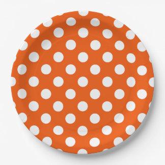 Assiettes En Papier Pois blanc sur l'orange