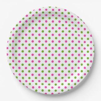 Assiettes En Papier Pois rose et vert de très bon goût sur le blanc