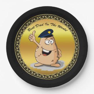 Assiettes En Papier Pomme de terre de policier avec un casquette bleu
