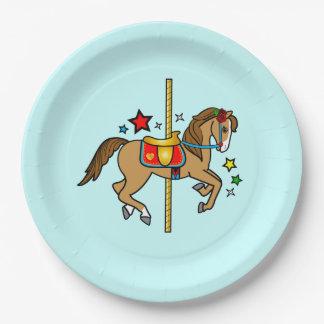 Assiettes En Papier Poney de carrousel avec l'anniversaire d'étoiles