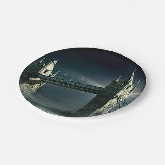 Assiettes En Papier Pont Londres de tour en brouillard de nuit