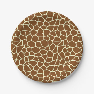 Assiettes En Papier Poster de animal sauvage de motif de girafe