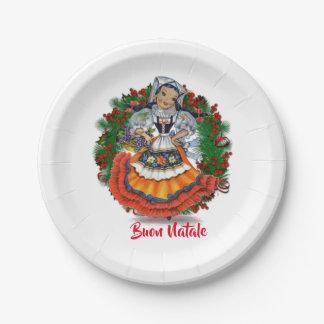 Assiettes En Papier Poupée italienne de Joyeux Noël de Buon Natale