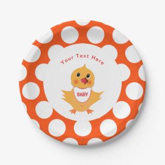 Assiettes En Papier Poussin jaune de bébé de poulet personnalisé