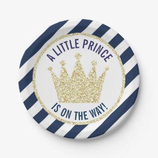 Assiettes En Papier Prince d'or de marine petit sur le baby shower de
