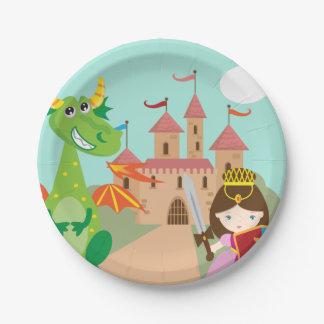 Assiettes En Papier Princesse dans le château rose et le dragon de
