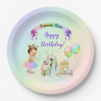 Assiettes En Papier Princesse magique Castle Carriage d'arc-en-ciel