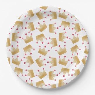 Assiettes En Papier Princesse molle Crown Pattern de gradient d'or