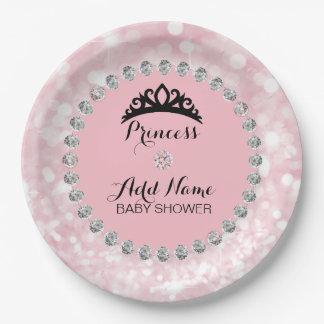 Assiettes En Papier Princesse rose personnalisée baby shower de fille