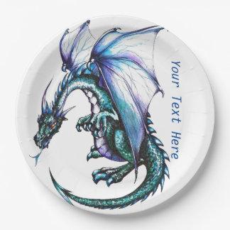 Assiettes En Papier Produits de papier de partie de dragon de bleu de