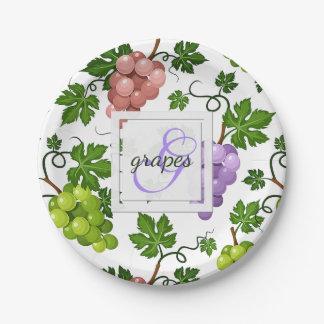 Assiettes En Papier Raisins et vignes doux