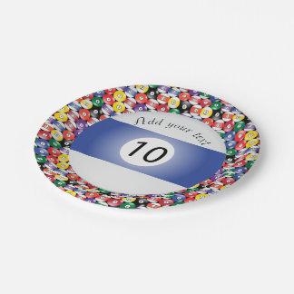 Assiettes En Papier Rayure numéro Dix de boules de piscine de billard
