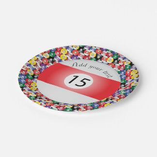 Assiettes En Papier Rayure numéro quinze de boules de piscine de