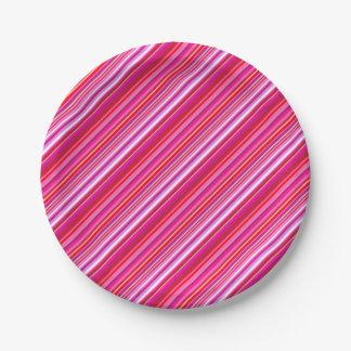 Assiettes En Papier Rayure rose