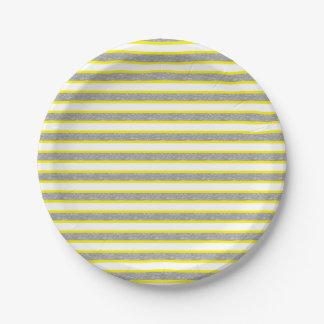Assiettes En Papier Rayures argentées statiques décrites par jaune