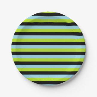 Assiettes En Papier Rayures bleues de vert de chaux, noires et en