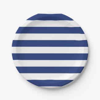 Assiettes En Papier Rayures bleues et blanches de point chanceux