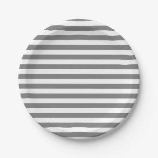 Assiettes En Papier Rayures de gris et de blanc de charbon de bois