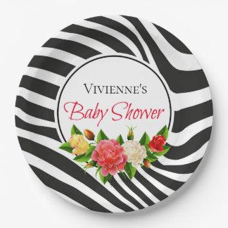 Assiettes En Papier Rayures de zèbre et baby shower moderne de roses