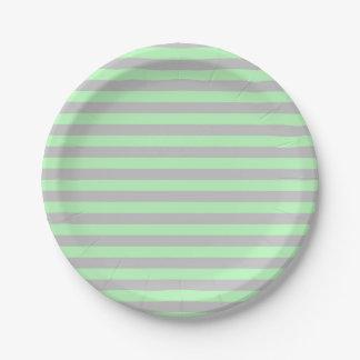 Assiettes En Papier Rayures doucement vertes et argentées