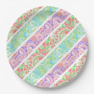 Assiettes En Papier Rayures en pastel colorées mignonnes de fleurs