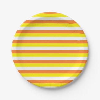 Assiettes En Papier Rayures oranges, jaunes et blanches