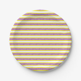 Assiettes En Papier Rayures pourpres statiques décrites par jaune