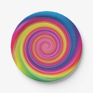 Assiettes En Papier Remous coloré de Lollypop d'arc-en-ciel
