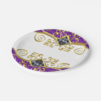 Assiettes En Papier Remous pourpres Bling d'or de parties