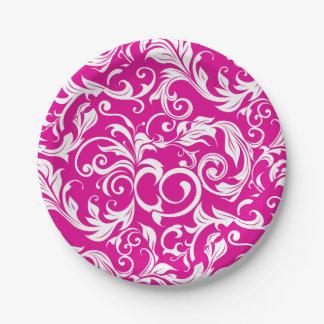 Assiettes En Papier Remous rose magenta moderne de papier peint floral