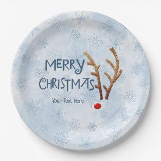 Assiettes En Papier Renne au nez rouge abstrait, Joyeux Noël